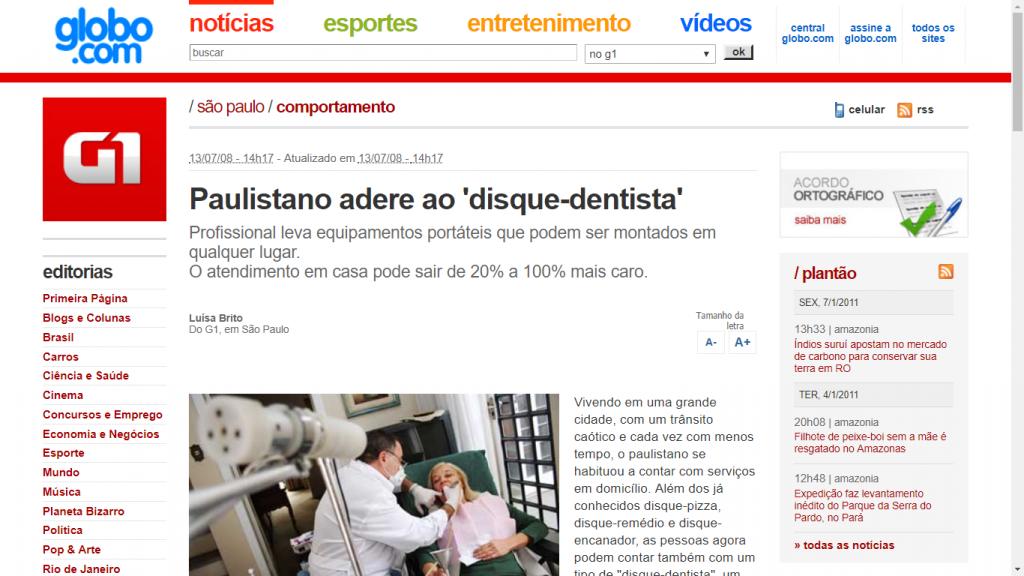 Matéria no G1 sobre atendimento de dentista a domicílio.